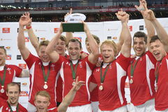 Wales- Plate winners. Wales beat fiji 26 -14 in the plate final at the Cell C Nelson Mandela bay South Africa sevens in port Elizabeth Royalty Free Stock Photo
