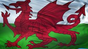 WALES realistisk vinkande flaggabakgrund Fotografering för Bildbyråer