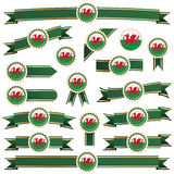 Wales ribbons. Green and gold ribbons with wales emblems, isolated on white Stock Images