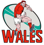 Wales Rugby player fending. Illustration of a Cartoon Welsh Rugby player running fending off  with ball in background and words Wales Stock Photo