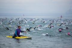 Wales-Schwimmen 2017 bei Tenby, West-Wales, Großbritannien Stockfoto