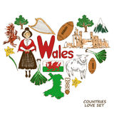Wales symbols in heart shape concept. Colorful sketch collection of Wales symbols. Heart shape concept. Travel background Stock Photo
