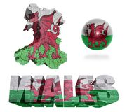 Wales Symbols. Wales flag and map in different styles in different textures Royalty Free Stock Photos