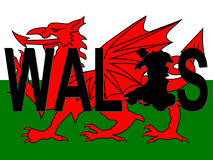 Wales text with map Royalty Free Stock Photography