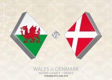 Wales versus Denemarken, Liga B, Groep 4 De de voetbalconcurrentie van Europa Vector Illustratie