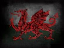 Walesisk flagga i illustrativ stil för svart tavlasvart tavla Royaltyfria Bilder
