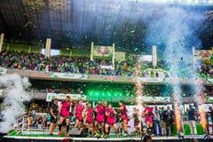 Walesisk krigareseger Safaricom Sevens 2014 Arkivbild