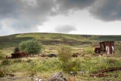 Walesiskt landskap med industriella reliker royaltyfri bild