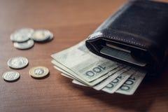 Walet avec l'argent de polich photographie stock