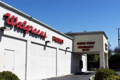 Walgreens Pharmacy drive through. The Walgreen Company is the largest drug retailing chain in the United States. As of May 31, 2014, the company operated 8,217 Royalty Free Stock Images
