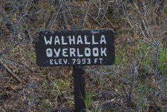Walhalla Overlook Sign. At the North rim of Grand Canyon National Park stock images