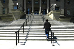 大厦对waling的企业台阶 免版税库存照片