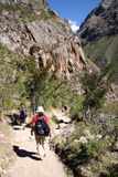 Waling the trail. Inca trail on a sunny day, altitude is way up there so its easy to get sick Royalty Free Stock Photo