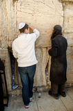 Waling Wall in Jerusalem. Jewish men praying at the Western wall in Jerusalem Stock Photography