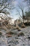 Waliser-Hügel-Bauernhof im Winter Stockfoto
