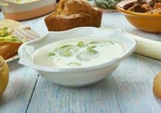 Waliser-Porree und Stilton-Suppe stockfotos