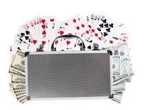 walizka i karta do gry amerykanin sto dolarów fotografia stock