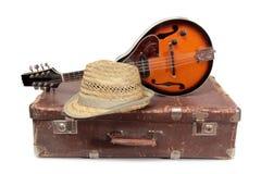 Walizka trzy i mandolina Zdjęcie Royalty Free