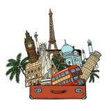 Walizka z światowymi punktami zwrotnymi Turystyki i podróży pojęcie Isolat royalty ilustracja