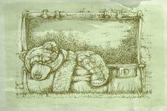 Walizka z niedźwiedziem z antyk bazą ilustracja wektor