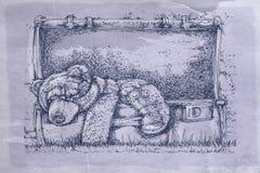 Walizka z niedźwiedziem z antyk bazą royalty ilustracja