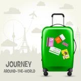 Walizka z podróży etykietkami i europejskimi punktami zwrotnymi - turystyka Zdjęcie Royalty Free