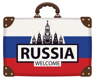 Walizka z rosjanin flaga i Kremlin Obrazy Stock