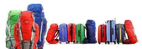 Walizki i plecaki na białym tle zdjęcie stock