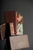 walizki stara kobieta Obrazy Royalty Free