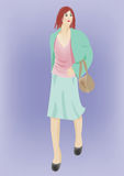 Walk. A illustration of a woman walking stock illustration