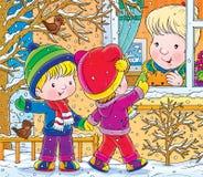 Walk. Children's book illustration for yours design, postcard, album, cover, scrapbook, etc Royalty Free Stock Images