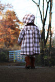 The walk. Two year old walking on a path with beautiful fall colors in the background Stock Image