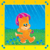 Walk. Illustration of kitty walking in the rain, colored frame and scenery Stock Image