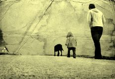 On a walk. Dog child and mom on a walk Royalty Free Stock Photography