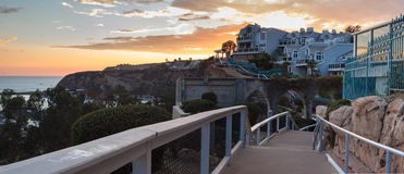 Walk above the Dana Point Harbor at sunset Stock Photography