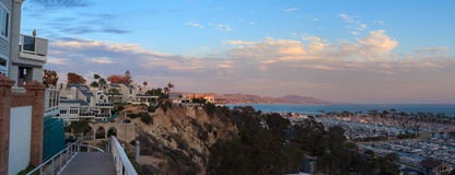 Walk above the Dana Point Harbor at sunset Royalty Free Stock Photography