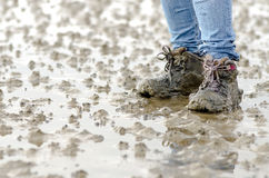Walk across the mudflats Stock Photography