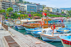 Walk along the boats in Alanya Stock Images