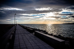 Walk along the breakwater Royalty Free Stock Photography