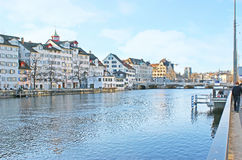The walk along the Limmat river Royalty Free Stock Photography