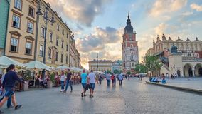 Walk along the Main Square of Krakow, Poland stock video footage