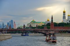 walk along the Moscow river royalty free stock photo