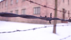 Walk along old rusty barbed wire fence of Auschwitz Birkenau concentration and extermination camp. Brick barracks in the. Snow. 4K shot stock footage