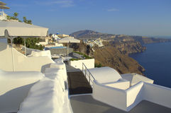 Walkway on Santorini roofs,Greece Stock Images