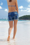 Walk along the shore of the Atlantic Ocean Royalty Free Stock Photography