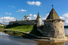 Walk along walls of the Pskov Kremlin in summer. Sunny day Stock Photography