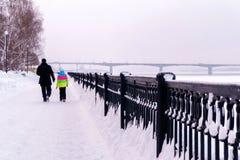 Walk along the winter promenade royalty free stock photography