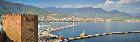 Walk around Alanya. Panoramic views of the city of Alanya in Turkey Stock Photos