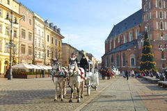 Walk around Krakow in carriages Royalty Free Stock Photos