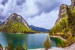 Walk around the Lago di Braies Stock Image